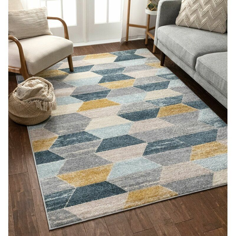 Well Woven Mystic Modern Vintage Geometric Blue Gray Area Rug Reviews Wayfair Area A In 2020 Grey And Yellow Living Room Blue Gray Area Rug Blue Grey Living Room