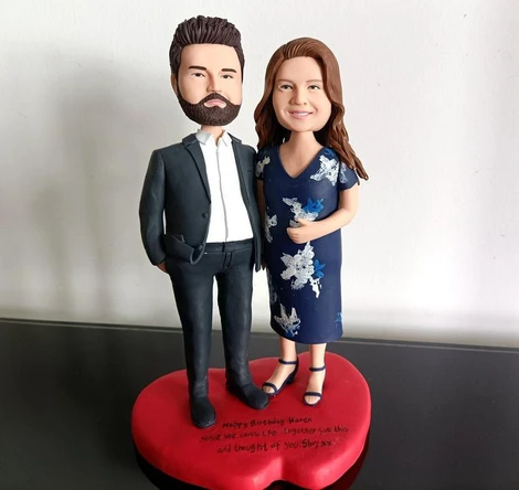 Photo of Handmade Bobblehead Custom Couple, bobblehead cake topper, Bobble Head