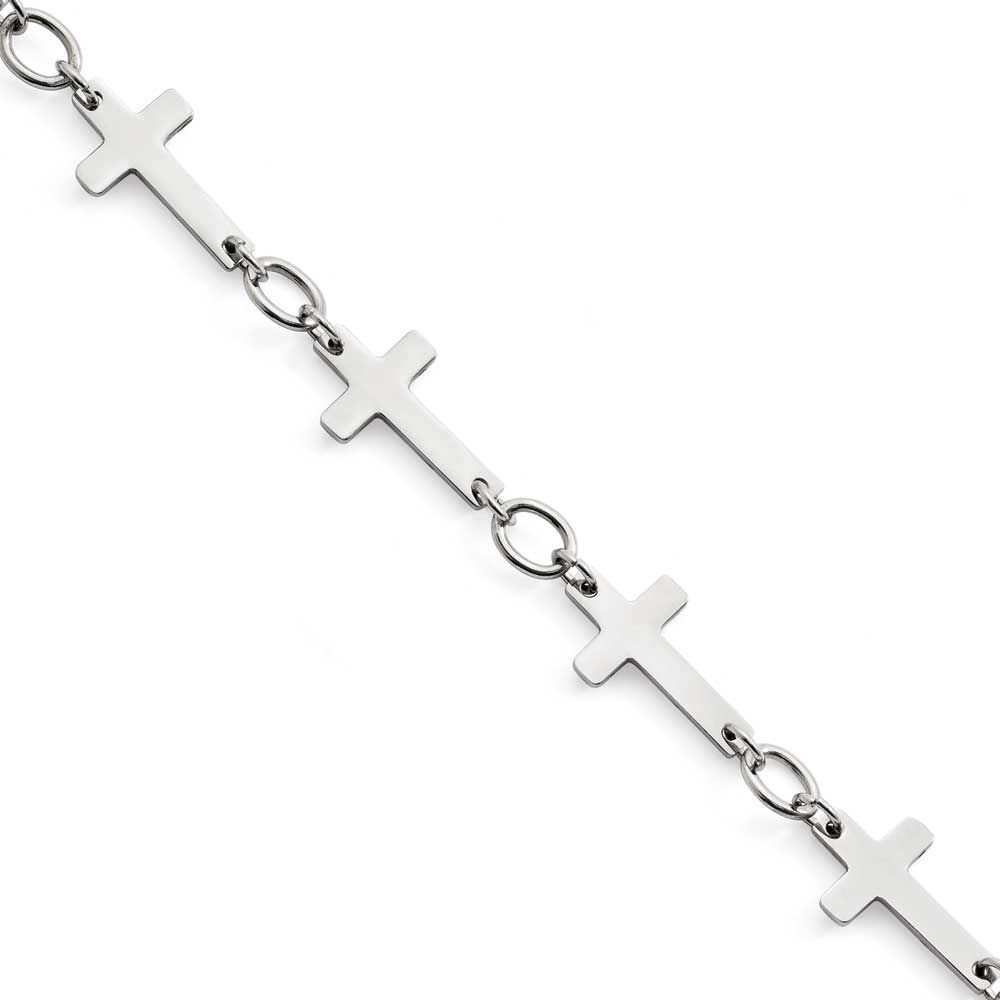 Chisel Polished Sideways Cross Anklet, Women's