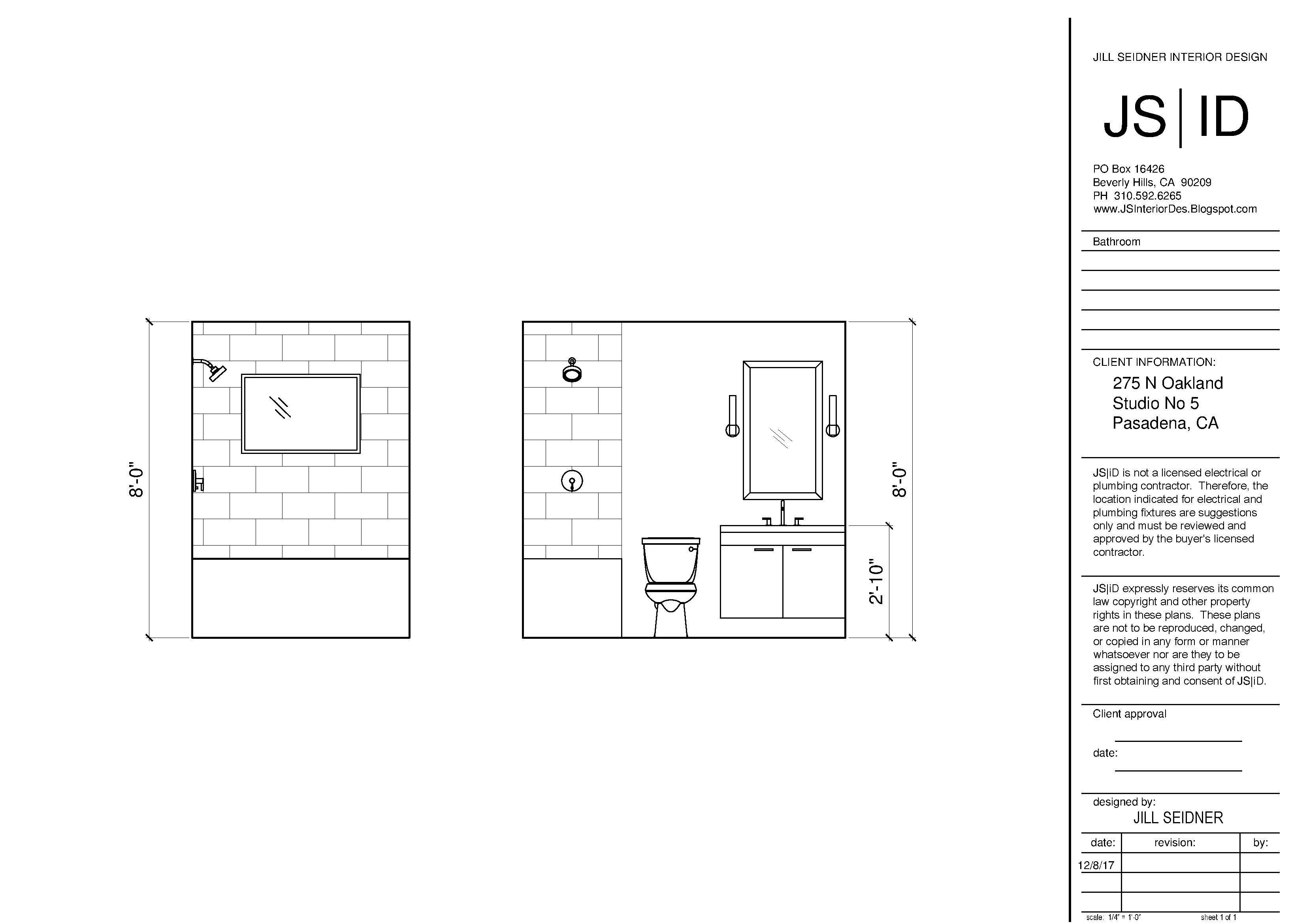 Pasadena Ca Tenant Improvement Project Bathroom Remodel Elevation Custom Bathroom Design Drawings Review