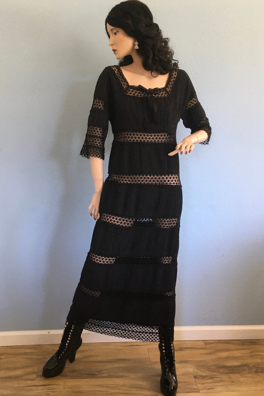 70s Black Lace Pin Tuck Mexican Wedding Dress Small Medium Etsy Fashion Maxi Dress Cotton Mexican Wedding Dress [ 2965 x 1976 Pixel ]