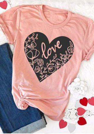 Love Floral Heart Short Sleeve T Shirt Valentinesday