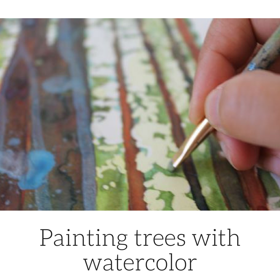 Painting trees with watercolor, Hiking with the dogs by Sandrine Pelissier on ARTiful, painting demos