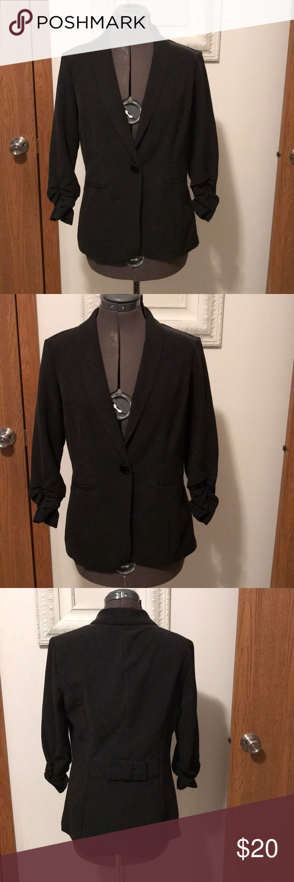 Stood Black Dress Jacket With Bow Accent Black Dress Jacket Jacket Dress Cute Black Dress [ 1740 x 580 Pixel ]