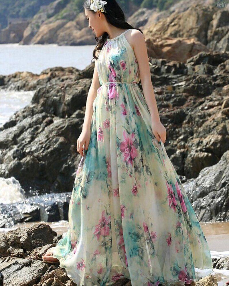 Medeshe(TM) Women's Summer Floral Long Beach Maxi Dress Lightweight  Sundress at Amazon Women's