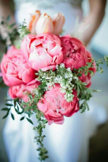 Wedding Bouquet Featuring Pink Coral Peonies Peach Tulips Greenery Foliage