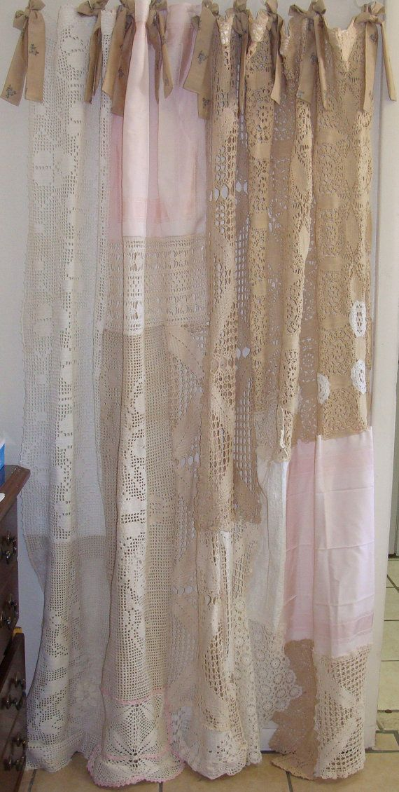 Shabby Chic Shower Curtain Vintage Crochet By Bohobagsnthings
