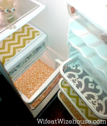 Fridge Shelf Liners Gorgeous Fridge Drawers Using Heat N' Bond Vinyl And Cute Fabric  Great Design Inspiration