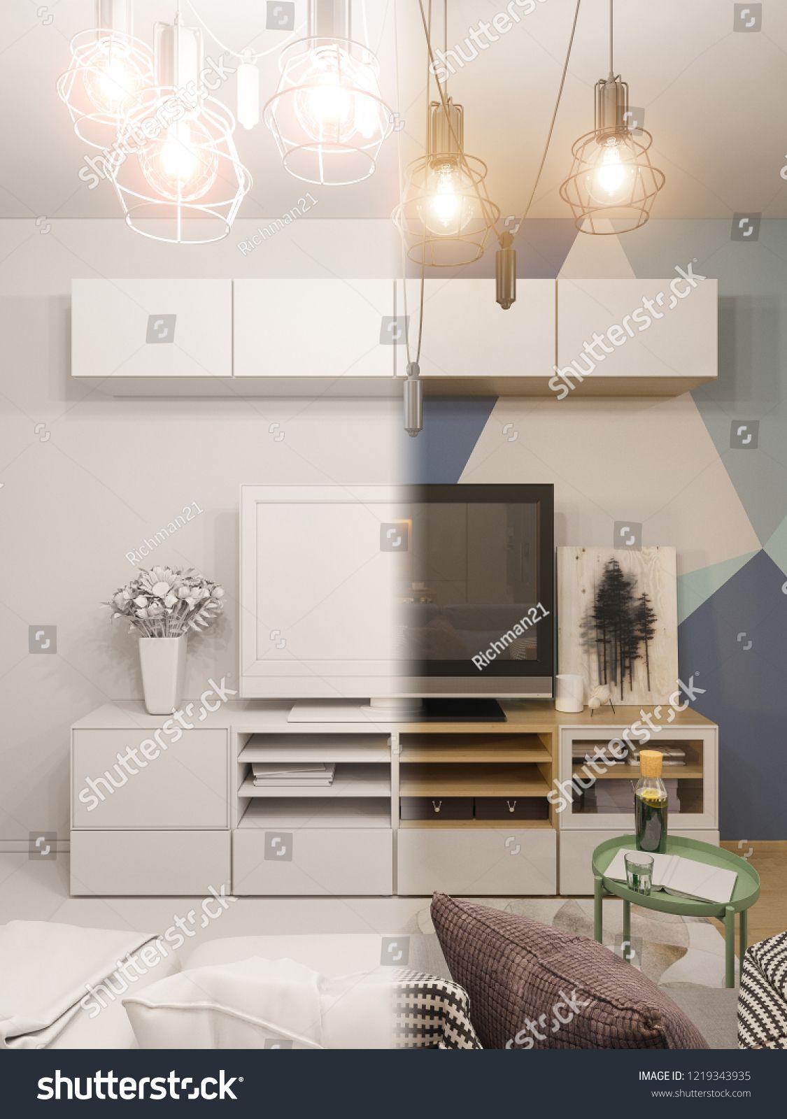 3d Room Interior Design: 3d Illustration Living Room Interior Design. Modern Studio