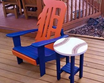 Beau Detroit Tiger Chair With Baseball Side Table ~ For Pick Up Only Lawn Chairs,  Table