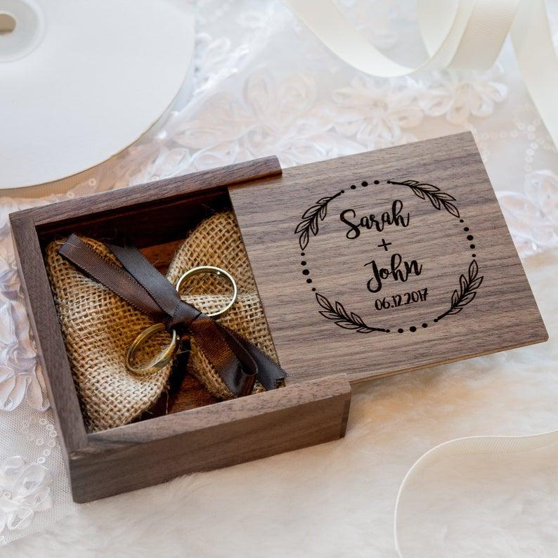 Square Walnut Wood Ring Bearer Box Custom Engagement Proposal Ring Holder, Ring Pillow Alternative, Rustic Wedding Ceremony Ring Box