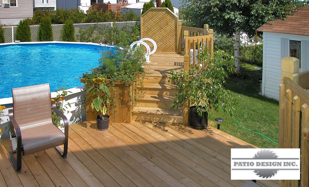 Patio avec piscine hors terre amenagement piscine hors - Amenagement terrasse piscine ...