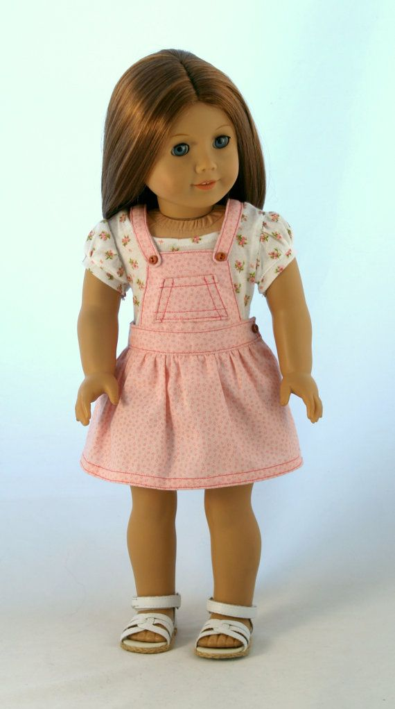 18 doll clothes fits american girl original overall skirt with sprigged tee sold work from. Black Bedroom Furniture Sets. Home Design Ideas