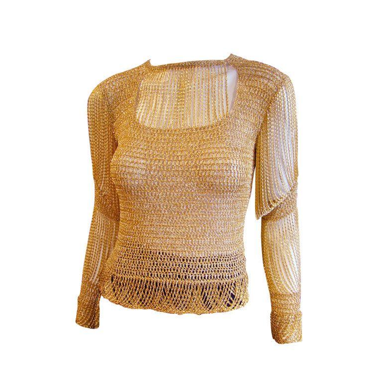 Vintage 1970's Loris Azzaro Gold Chain Crochet Sweater | Chains ...