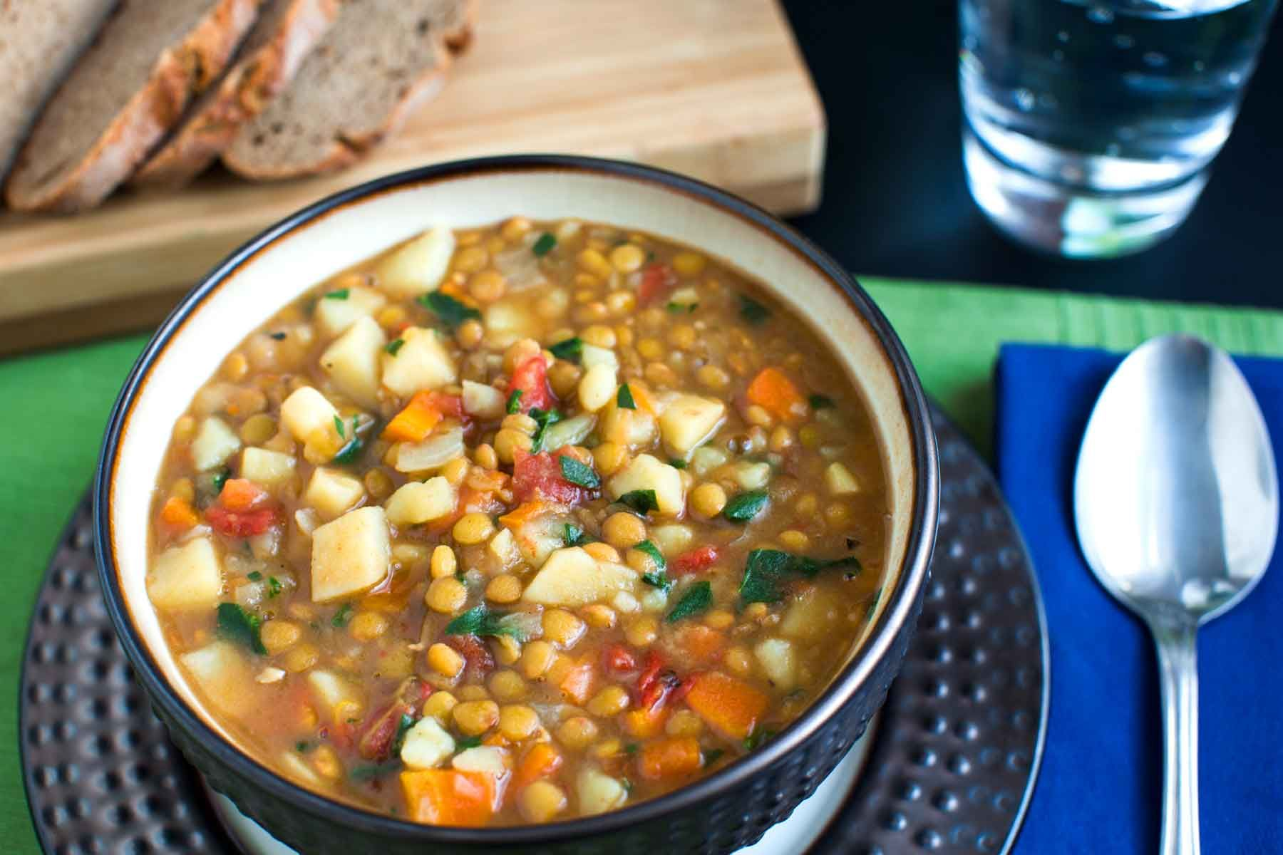 Lentil Vegetable Soup Recipe Lentil vegetable soup, Food