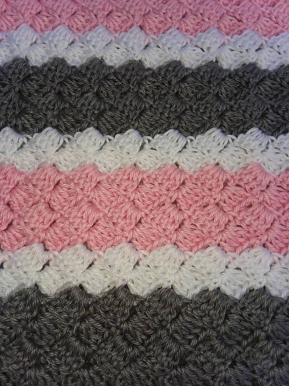 Crochet Pattern Pink White and Grey Striped Baby Blanket | Afghan ...