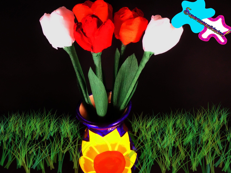 Como hacer tulipanes de papel crepé ✿SUPERMANUALIDADES✿
