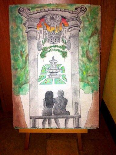 My Ideal City - acquerello su carta martellata peruviana