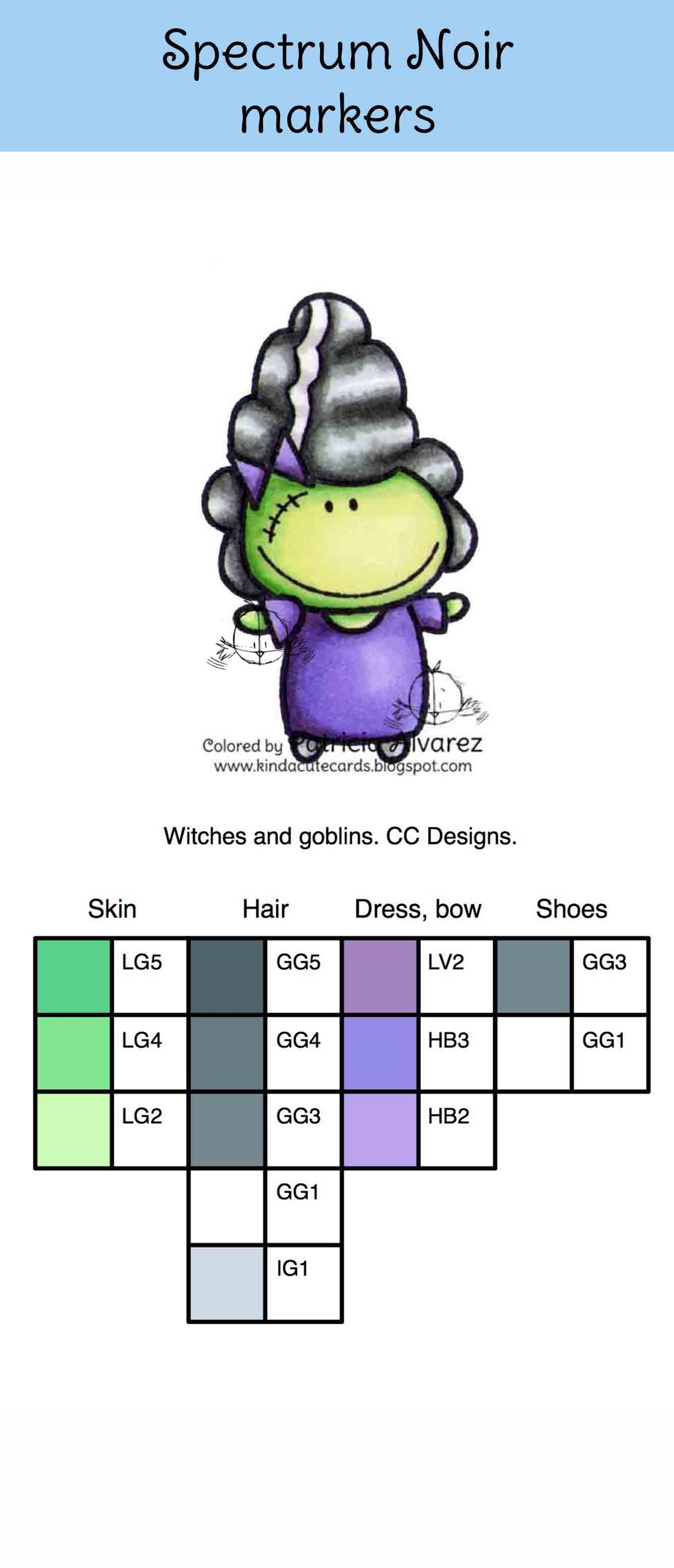Color Chart Of A Witch With Spectrum Noir Markers Stamp