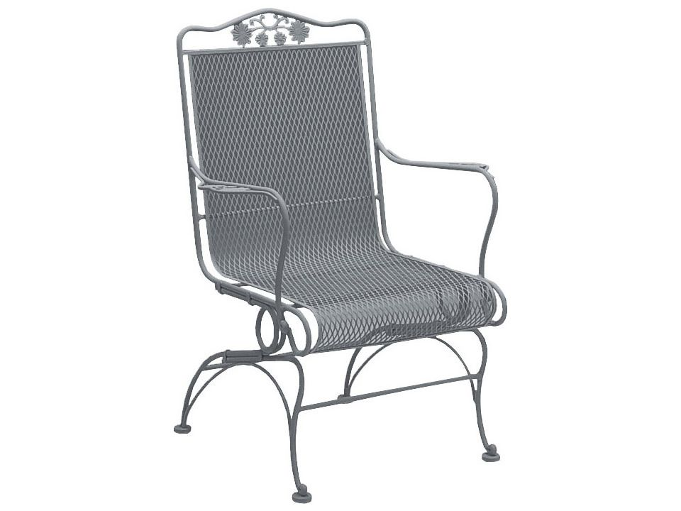 Woodard Briarwood Wrought Iron High Back Coil Spring Chair High