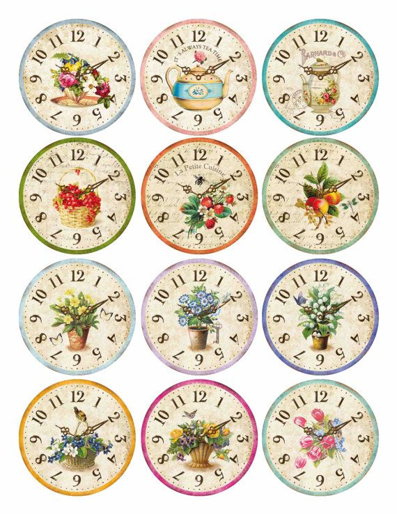 Edible Wafer Paper Floral Country Clocks Tea Time by TlcEdibles
