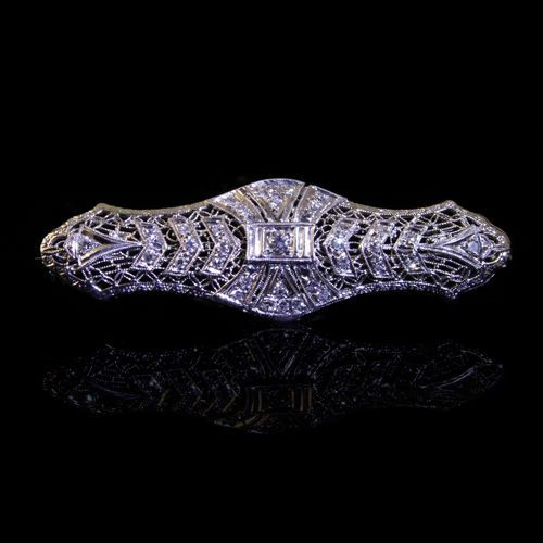 14k White Gold 2cttw Vintage Diamond Pin SI1 SI2 Clarity | eBay | Haig's of Rochester Fine Jewelry & Objects of Art, Rochester, MI. #Gatsby