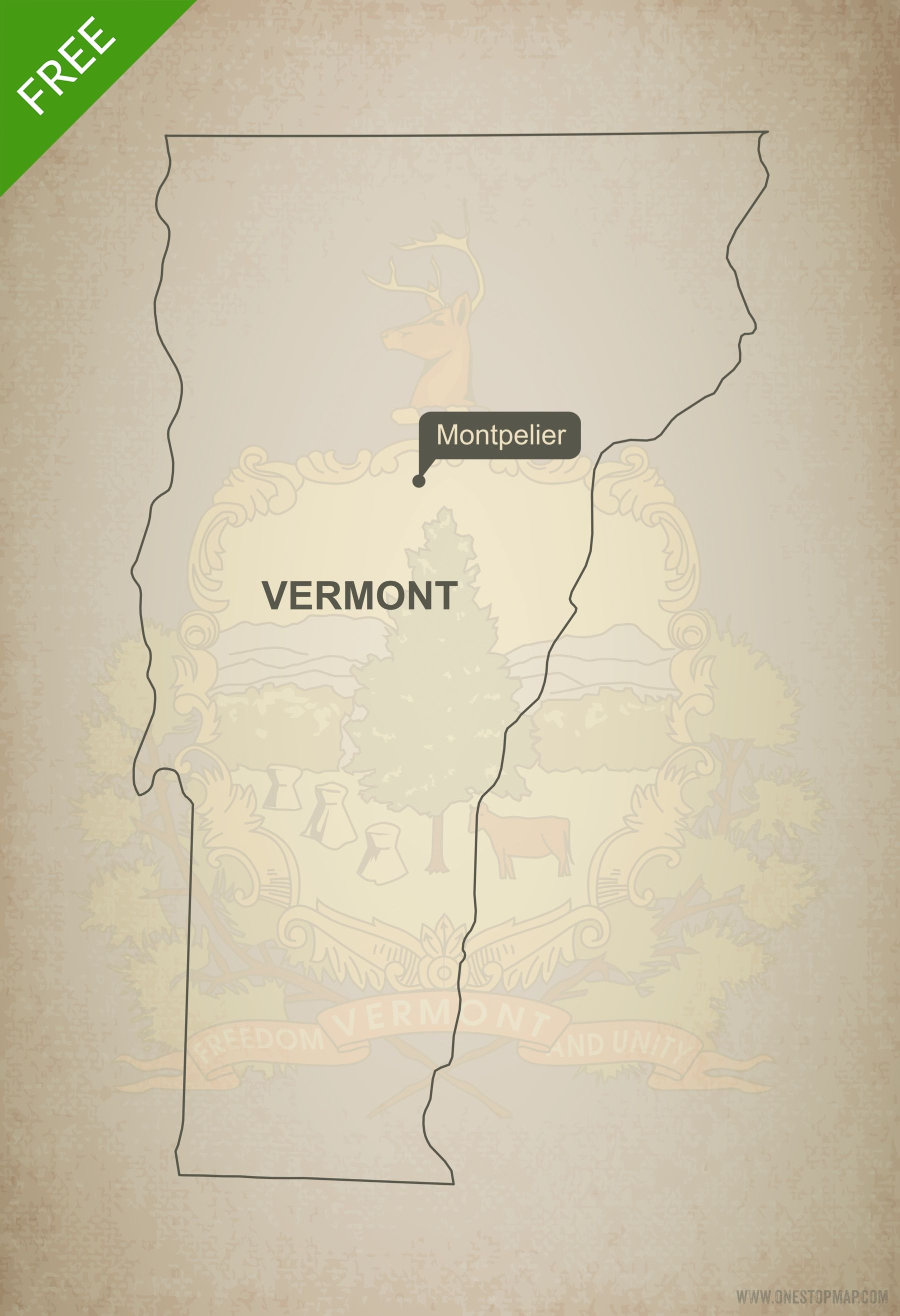 Free Vector Map Of Vermont Outline Free Maps Vermont And Free - World map blank illustrator