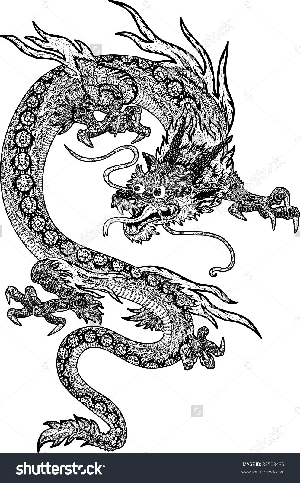 Stock vector psychedelic hand drawn huge and detailed chinese psychedelic hand drawn huge and detailed chinese dragon new year biocorpaavc