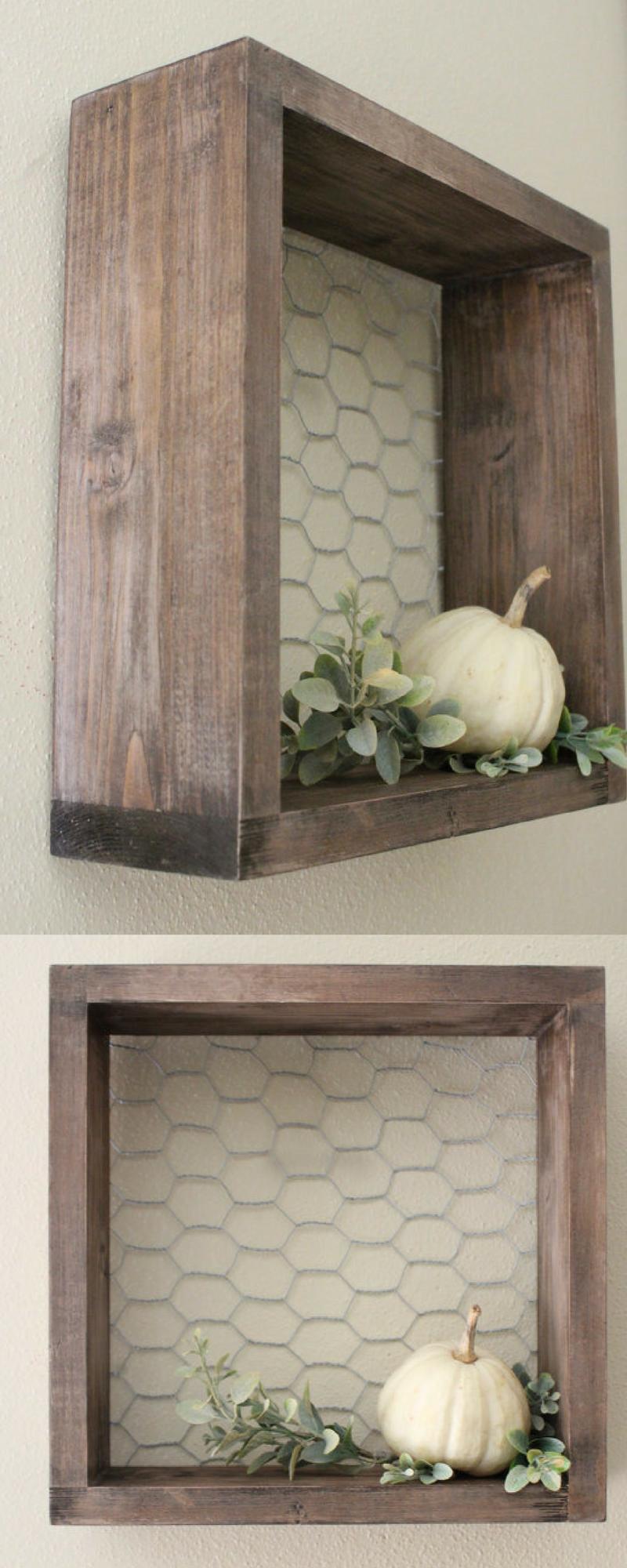 What a cool shelf chicken wire u wood shelf farmhouse decor wall