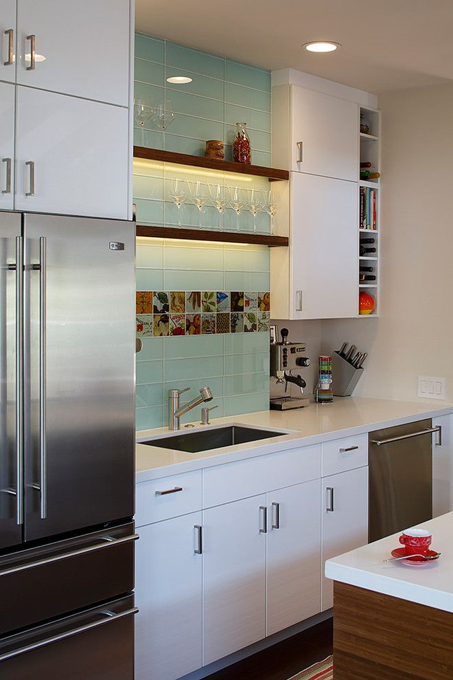 kitchen sink designs Kitchen Contemporary with beige wall colorful glass