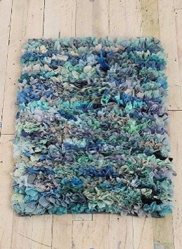 crafty design teal area rug. T Shirt Shag Rug  Cut old tees into strips using latch hook canvas