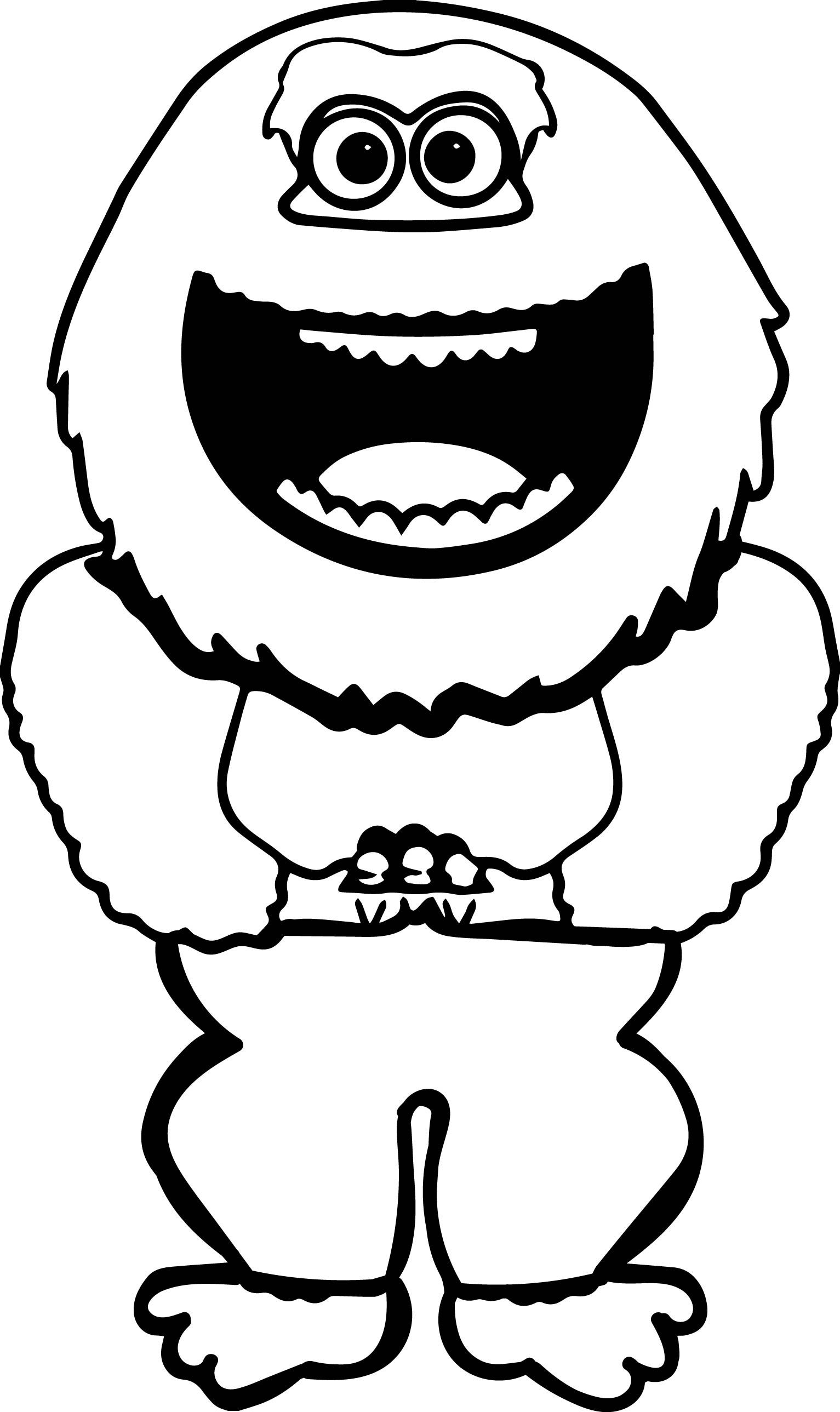 Nice Smiling Abominable Snowman Coloring Page