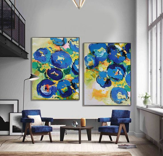 Set Of 2 Contemporary Art On Canvas Hand Painted Large Painting From Cz Design Living Room