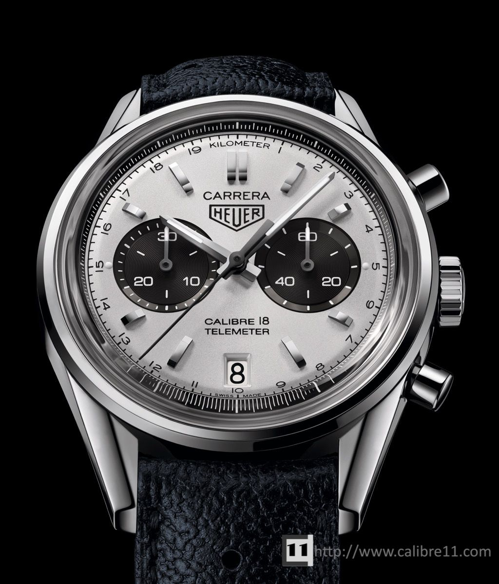 05acc477a8a Heuer Carrera Calibre 18 Telemeter - close enough to be called a reissue of  classic Heuer. Cal 18 is Sellita SW300 with DD 2223 chronograph module.