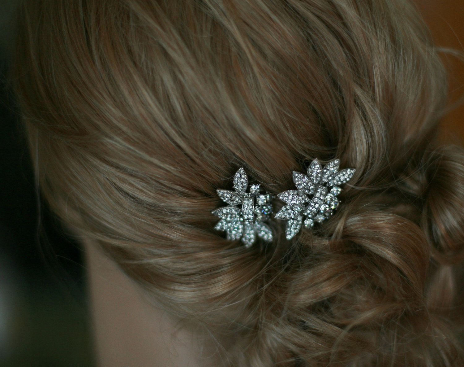 bridal hair comb - two small vintage style crystal hair combs