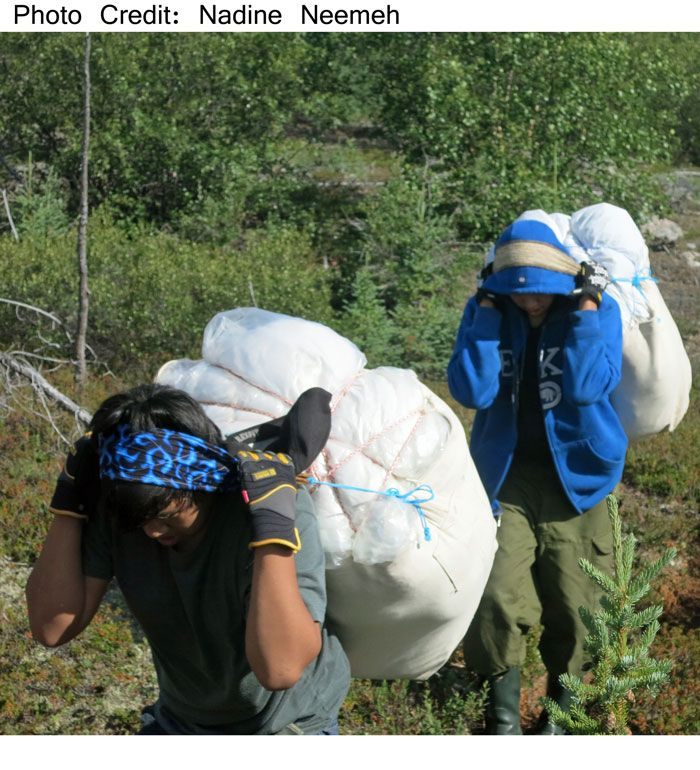 Want to thank Nadine Neemeh for this photo, which was taken in August 2013. It is a great example of living culture of the Tlicho people. Canvas Hunting Bags can pack a lot when going on the land and the people in the photo show how the bag is used.