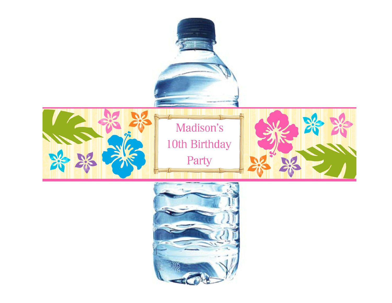 Printable Luau Hawaiian Water Bottle Labels Digital File 5 00 Via Etsy Printable Water Bottle Labels Diy Water Bottle Labels Water Bottle Labels Template