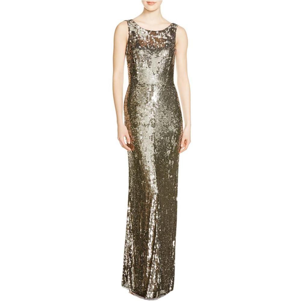 Parker womens silver silk sequined semiformal dress gown bhfo