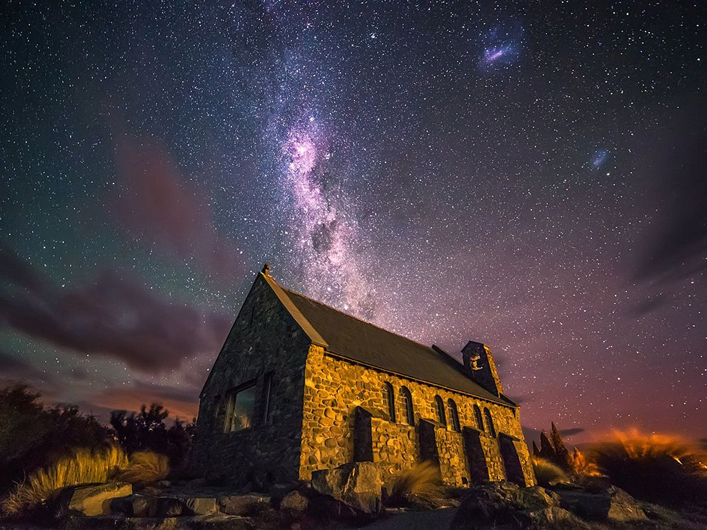 Image result for starry sky church in foreground
