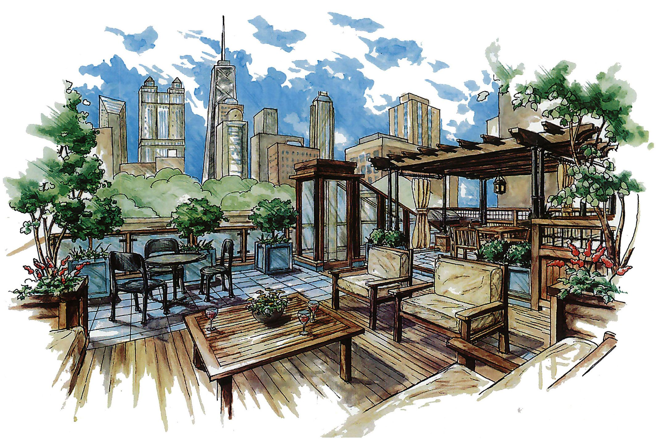 Landscape architecture sketches google search for Garden design sketches