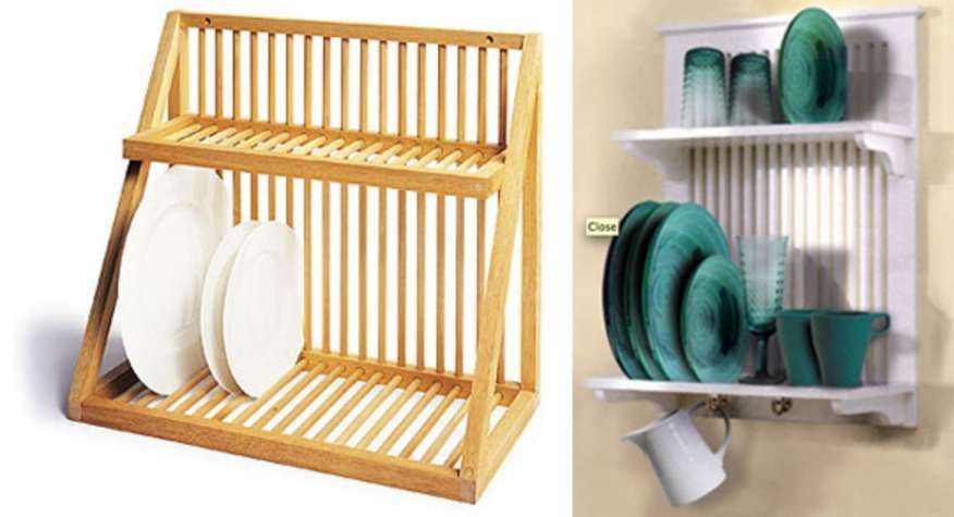 7+ Impressive Wall Mounted Dish Rack Wood Photos #plateracks