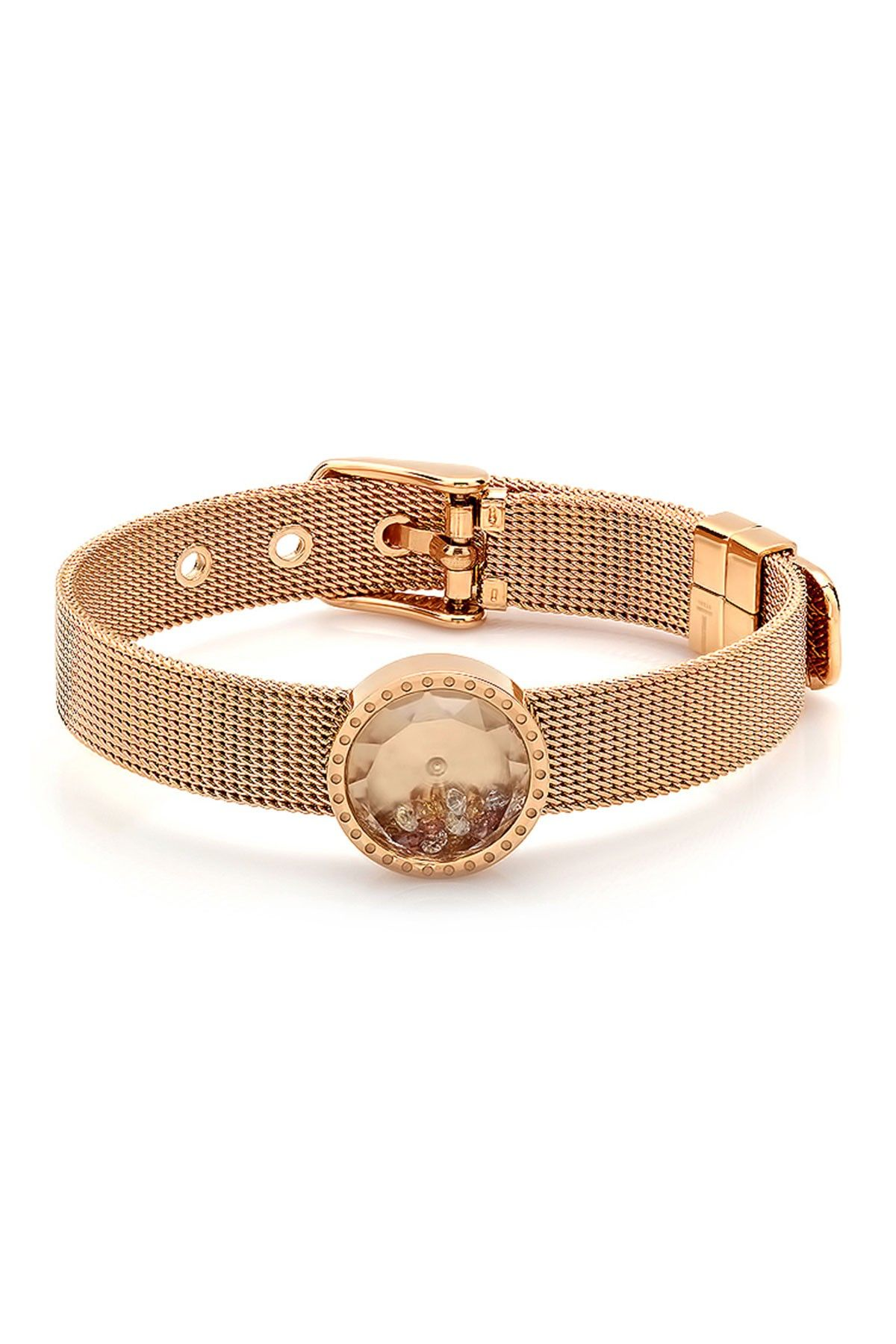 K rose gold plated stainless steel swarovski crystals watch
