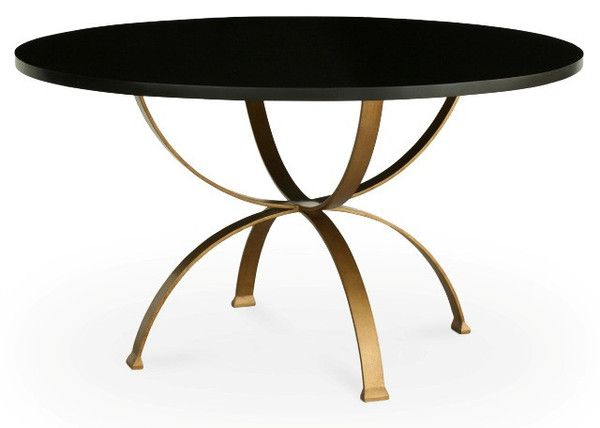 Sophia Dining Table Round 4foot Gold Metal Base Black Marble
