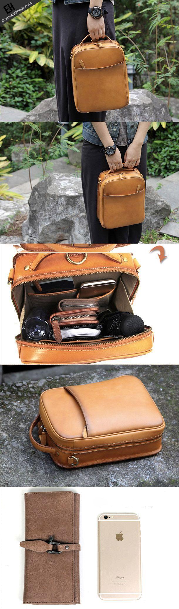cool Handmade vintage satchel leather normal messenger bag beige shoulder bag for wom...
