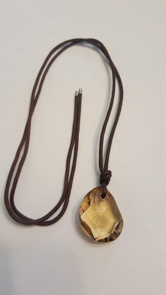Swarovski amber crystal pendant necklace on brown cord swan signed swarovski amber crystal pendant necklace on brown cord swan signed swarovski mozeypictures Choice Image