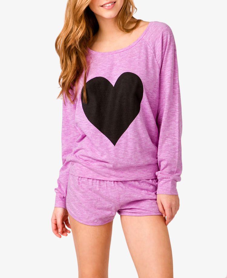 09102bb95190 Slub Knit Heart PJ Set
