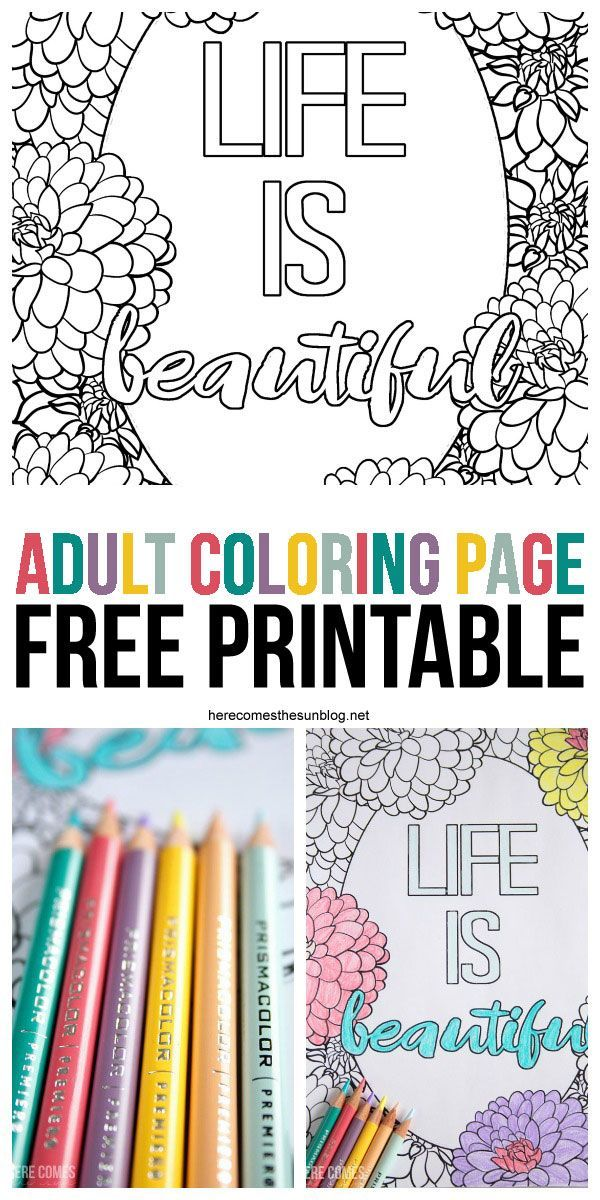 Colored Pencils For Grown Up Coloring Adult Coloring Page Free Printable Adult coloring
