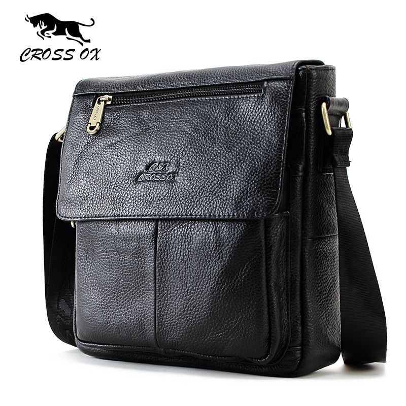 CROSS OX New Fashion Cowhide Man Messenger Bags Genuine Leather Male Cross Body Bag Casual Men Commercial Briefcase Bag SL232M //Price: $64.38 & FREE Shipping //     #Clothing