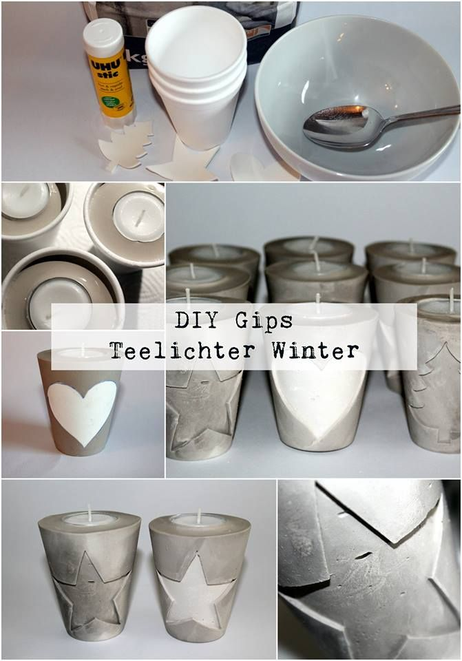 diy gips beton teelichthalter weihnachten gips. Black Bedroom Furniture Sets. Home Design Ideas