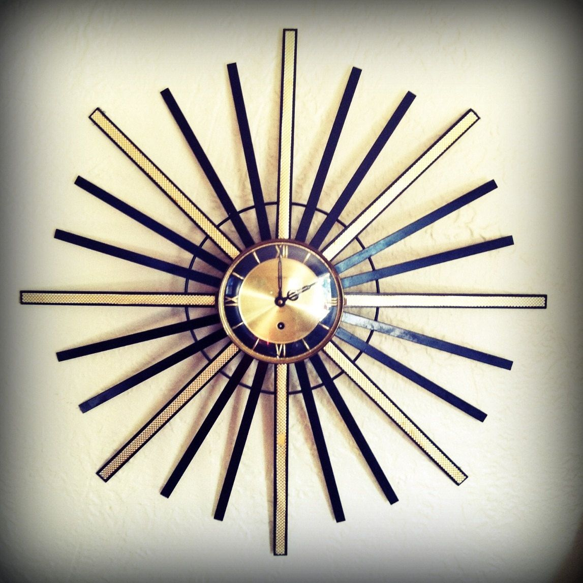 Huge vintage 1960s starburst clock atomic eames era sunburst wall clock mid century modern mod 150 00 via etsy